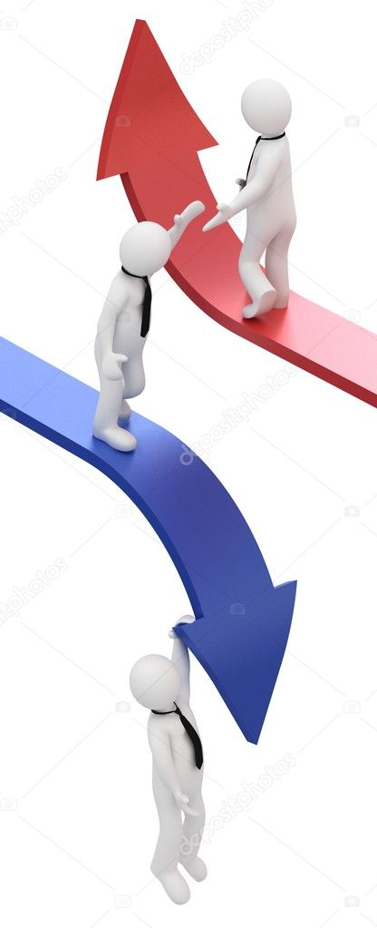 3d businessman, sliding downwards and upwards on an arrows  — Stock Photo #11049415