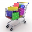 Gift buying. Shopping cart full of boxes. 3d — Stock Photo