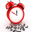 Lost time. Red alarm clock 3d. Isolated on white — Stock Photo
