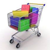 Gift buying. Shopping cart full of boxes. 3d — Stok fotoğraf