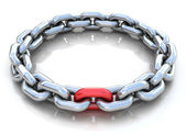 3d illustration of metal chain circle over white b — Stock Photo