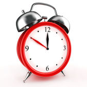 Red alarm clock 3d. Icon. Isolated on white — Stock Photo