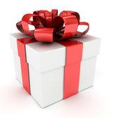 Beyaz hediye kutusu. 3d görüntü. — Stok fotoğraf