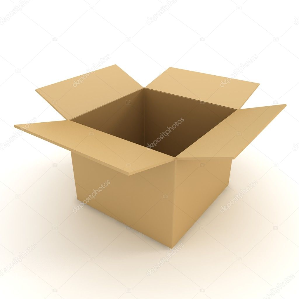 Open box isolated on white. 3d illustration  — Stock Photo #11287178