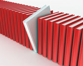 White book within red ones rendered on white background — Stock Photo