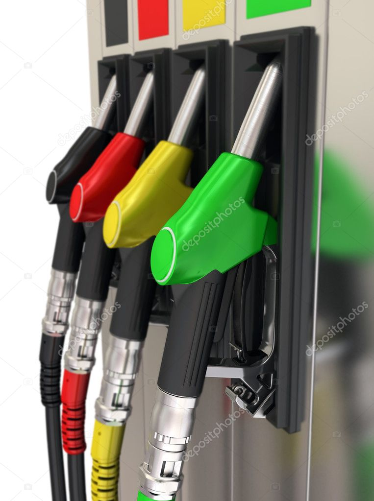 3d illustration Gas pump nozzles of colorful — Stock Photo #11333912