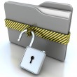 3D gray folder and lock. Data security concept. — Stock Photo