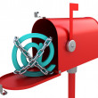 Stock Photo: 3d red mailbox with e-mail logo inside