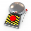 3d illustration of Metallic secure bell with a red button — Stock Photo