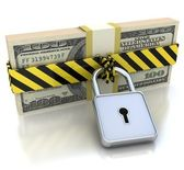 3D Money and lock. Data security concept. — Stock Photo