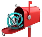 3d red mailbox with e-mail logo inside — Stock Photo