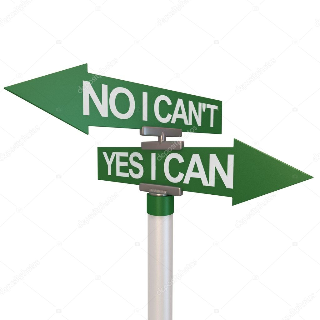 A green two-way street sign pointing to No I Can't and Yes I Can  — Stock Photo #11444588