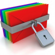 Colorful mail and lock — Stock Photo