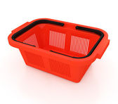 Red plastic shopping basket — Stock Photo