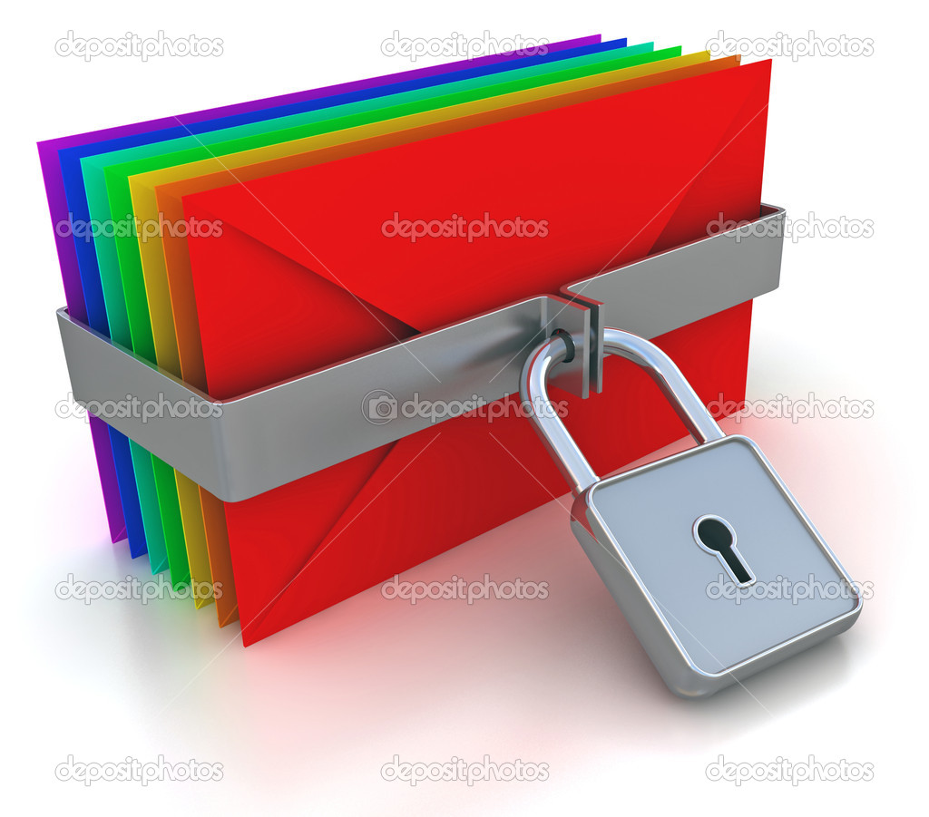Colorful mail and lock. 3d image on a white   Stock Photo #11524495