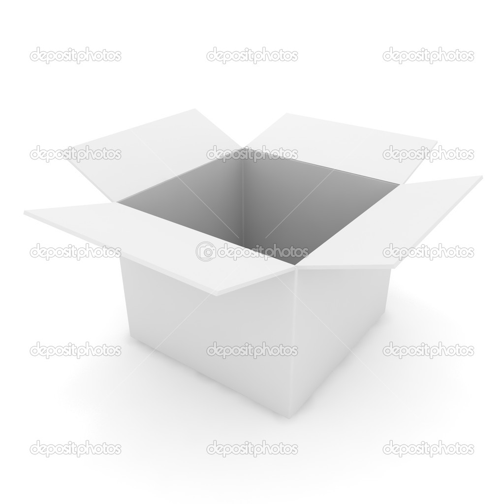 3d illustration of the open white box  Stock Photo #11524675