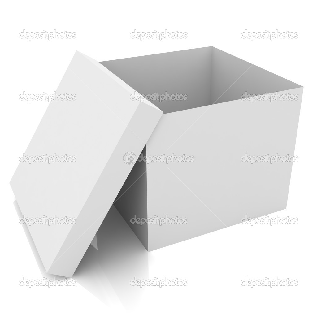 3d illustration white blank open box isolated over white background — Stock Photo #11532576