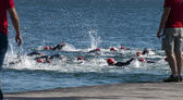 Female triathlon swimmers — Stock Photo