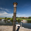 Storm tide pillar in Ribe - Stock Photo
