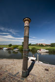 Storm tide pillar in Ribe — Stock Photo