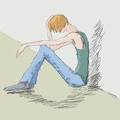 Sad man — Stock Vector