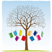 Books on the tree — Stock Vector
