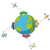 Cars and satellites — Stockvector