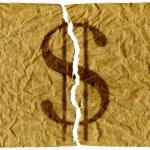 Torn U.S. dollars — Stock Photo