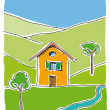 Cottage in the country — Stock Vector