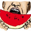 Royalty-Free Stock Vector Image: Eating watermelon