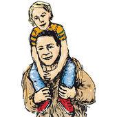 Niño a horcajadas — Vector de stock