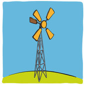 Old wind turbine — Stock Vector