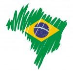 Map flag Brazil — Stock Vector #11495017