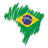 Map flag Brazil — Stock Vector