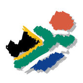 Map flag South Africa — Stock Vector
