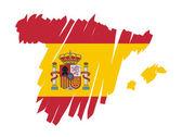 Map flag Spain — Stock Vector
