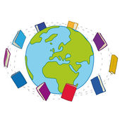 Books around the world — Stock Vector