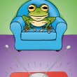 Frog watch TV — Stock Vector
