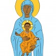 Mary and Jesus — Vector de stock
