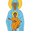 Mary and Jesus — Imagen vectorial