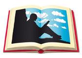 读取的男人 — 图库矢量图片