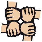 Mãos unidas — Vetor de Stock