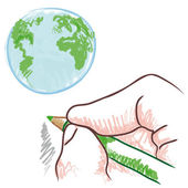 Draw the world — Stock Vector