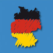 Flag map Germany — Vettoriale Stock