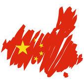 Mapa bandera china — Vector de stock