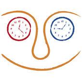 Gezichten met klokken — Stockvector