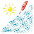 Nib waves and sun — Stock Vector