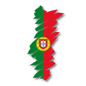 Map flag Portugal — Stock Vector