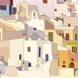 Oia, Santorini - Stock Vector