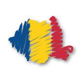 Flag map Romania — Stock Vector